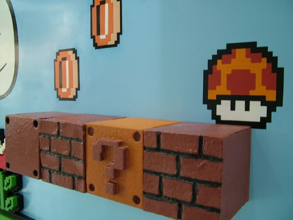 super mario bros mural by alfonso mellone my son would love this shelving ideas