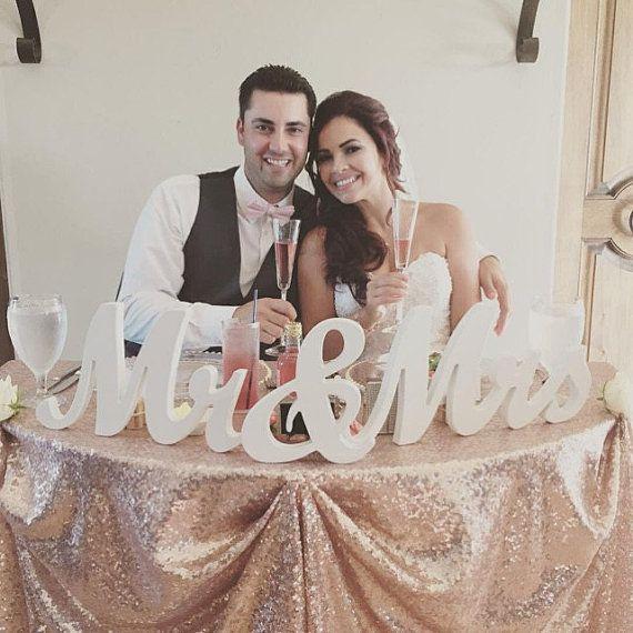 8 houten Dhr en mevrouw Wedding teken goud en door DuanesWorkshop