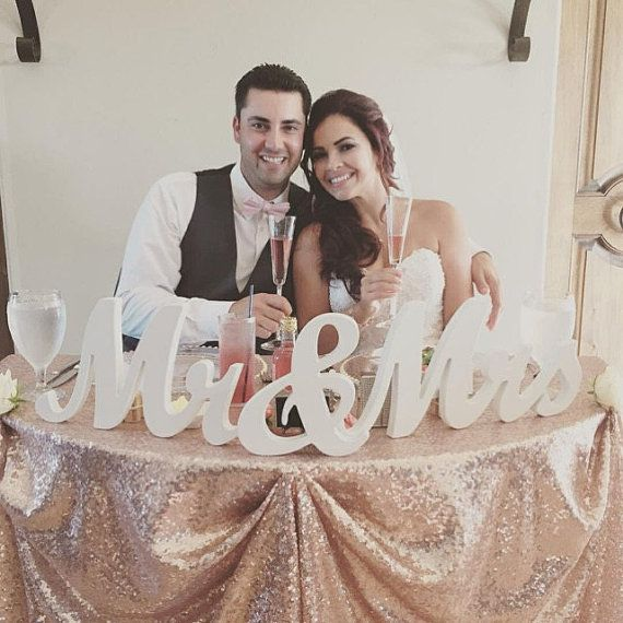 8 Wooden Mr and Mrs Wedding sign Gold and Silver by DuanesWorkshop