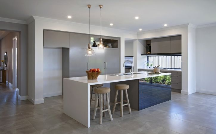 "Make your space look simple, elegant and gorgeous with Italia Ceramics sandstone grey tiles.  Design featured is the ""Daintree"" at Blakes Crossing by Dechellis Homes #kitchen #tiles #home"