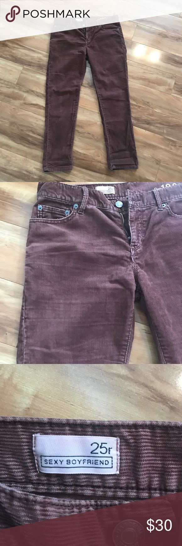 """Like New! Gap Corduroy Cafe Brown Pants Gap Corduroy Cafe Brown-colored boyfriend style pants. Super comfy material. Size is 25 Regular but boyfriend style runs larger. I'm normally a size 26 ( 5'3"""" 120-125 lbs). Inseam is 28"""". Only worn once! Let me know if you're interested. Make me an offer! GAP Pants"""