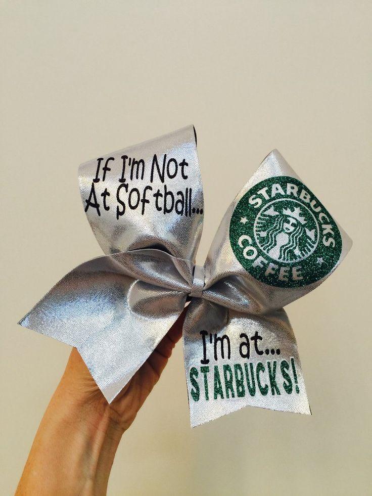 If I'm Not at Softball I'm at Starbucks Cheer Bow