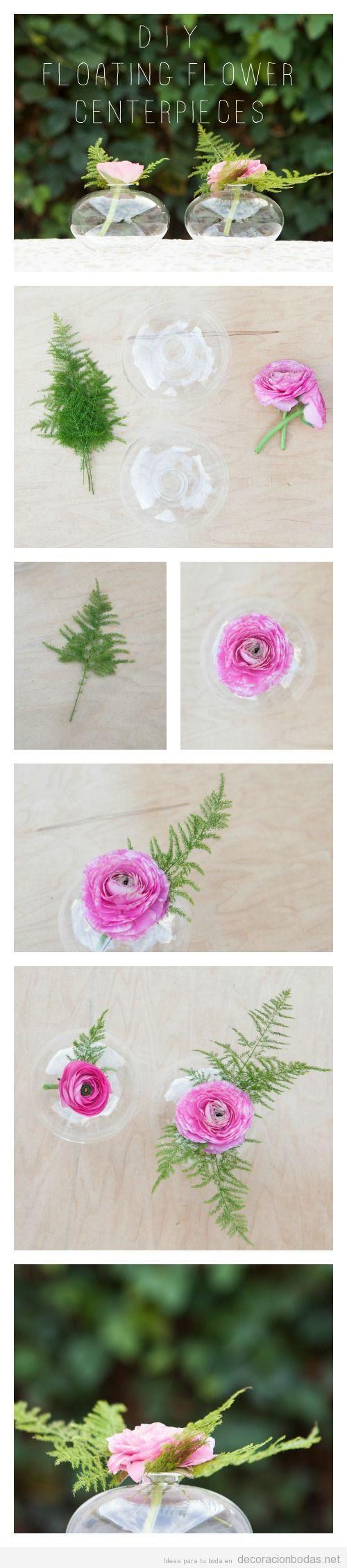 Decoración centro mesa boda flor flotante, manualidad DIY