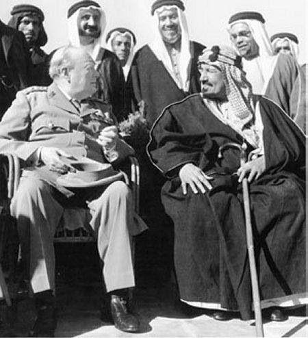 king AbdulAziz  and Winston Churchill