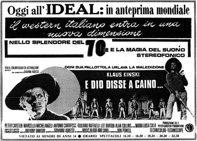 """""""E Dio disse a Caino..."""", noto negli USA come """"And God Said to Cain"""" (1970) di Anthony Dawson (Antonio Margheriti), con Klaus Kinski e Peter Carsten. Italian release: February 5, 1970 #MoviePosters"""
