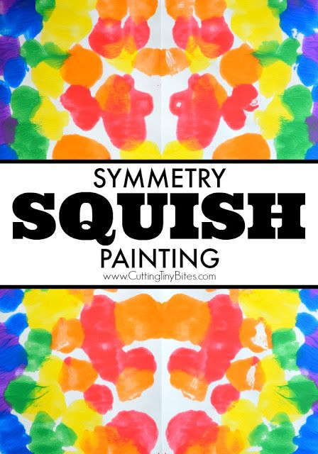 Symmetry Squish Painting Process Art.  Fun painting project for preschoolers, kindergartners, or elementary students to learn about symmetry through process art.  Combine math and art!