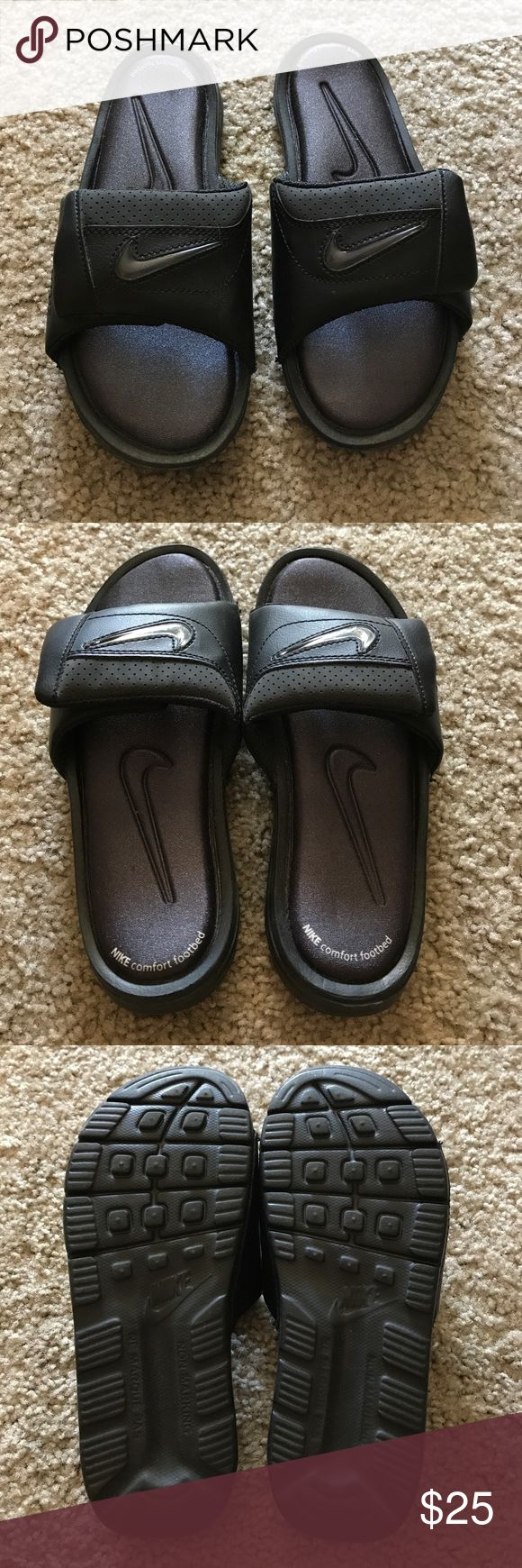 Nike Slip-Ons Sandals w/Color Change Swoosh Like New Condition; Barely Worn.  Comfort Footbed.  Logo can have different color inserts which are included: Green/Orange on one, then Blue/Yellow on the other. Nike Shoes Sandals & Flip Flops