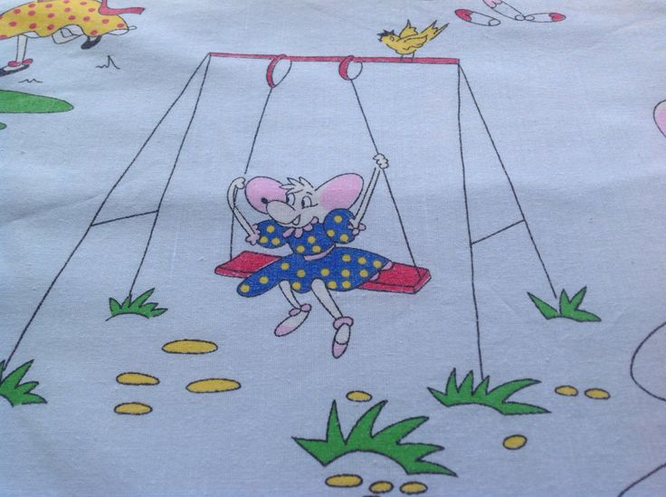 Large Children's Cotton Vintage Blue Bed Sheet. Mouse Pattern.  Craft Fabric. Children's Retro Bedding, Vintage French Children's Bedding. by FadoVintage on Etsy
