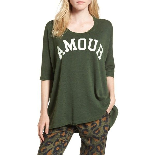 Women's Zadig & Voltaire Amour Overdye Tee ($158) ❤ liked on Polyvore featuring tops, t-shirts, kaki, torn t shirt, destruction t shirt, green top, ripped t shirt and oversized ripped t shirt