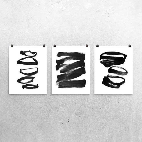 Set Of 3 Prints, Abstract Art, Minimalist Art, Scandinavian Decor, Zen Ink Art, Asian Inspired Black and White Wall Art, Fine Art Prints