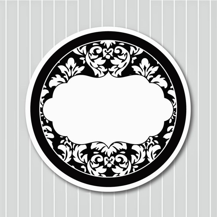 Black and White Damasks: Free Printable Toppers and Labels.