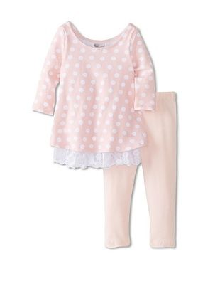 50% OFF Pippa & Julie Baby Polka Dot Tunic & Legging Set (Pink/White)