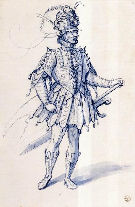 Costume drawing for a knight, Pen by Giuseppe Arcimboldo (1527-1593, Italy)