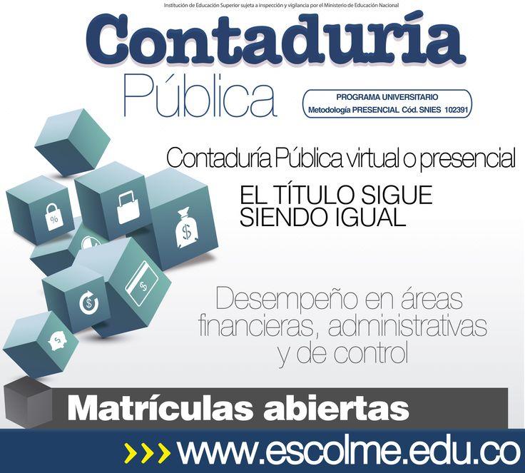 El contador público de ESCOLME se desempeñará en áreas financieras, administrativas y de control.  Cliquéame para inscribirte http://bit.ly/1SrJ8MK  o ingresa a www.escolme.edu.co Matrículas abiertas.