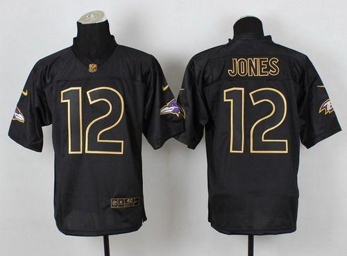 nike baltimore ravens 12 jacoby jones 2014 all black gold elite jersey