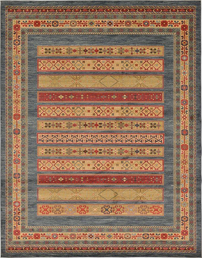 Amazon Com Land Of Gabbeh Rugs Modern Contemporary Persian Design Blue 419 10 X 13 Ft Area Rug Perfect For Any Home Decor Gabbeh Rug Area Rugs Gabbeh