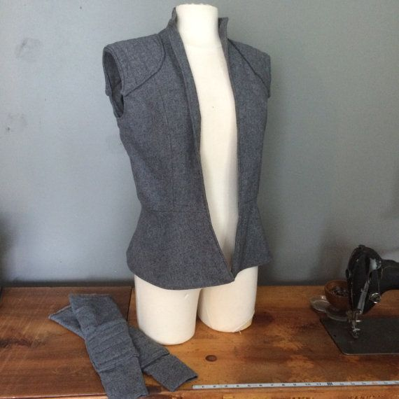 Rey inspired grey wool vest with matching gauntlets - ready to ship