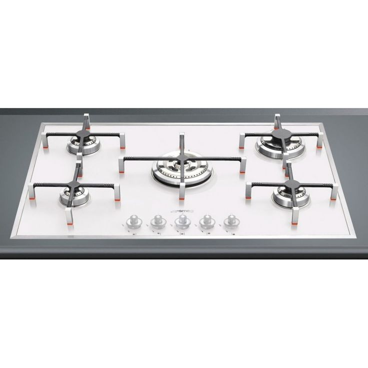 SMEG GAS HOB PVB750 WHITE GLASS BASE - 74 CM Smeg Gas hobs