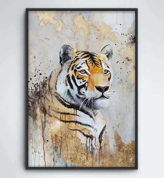 Tiger Painting with Gold Leaf, Original Large Mixed Media Animal Artwork    MEDIUM: watercolor, gouache, acrylic paint, gold foil on high quality acid free, age resistant paper (picture frame not included)  SIZE: 39,4x 27,6 (100x70cm)  PACKING: rolled and shipped in a stable tube    Signed back, with Certificate of Authenticity      For safety reasons all artworks are rolled and shipped in a solid tube.   I will ship out your artwork within 2 business days after I received your payment. The…