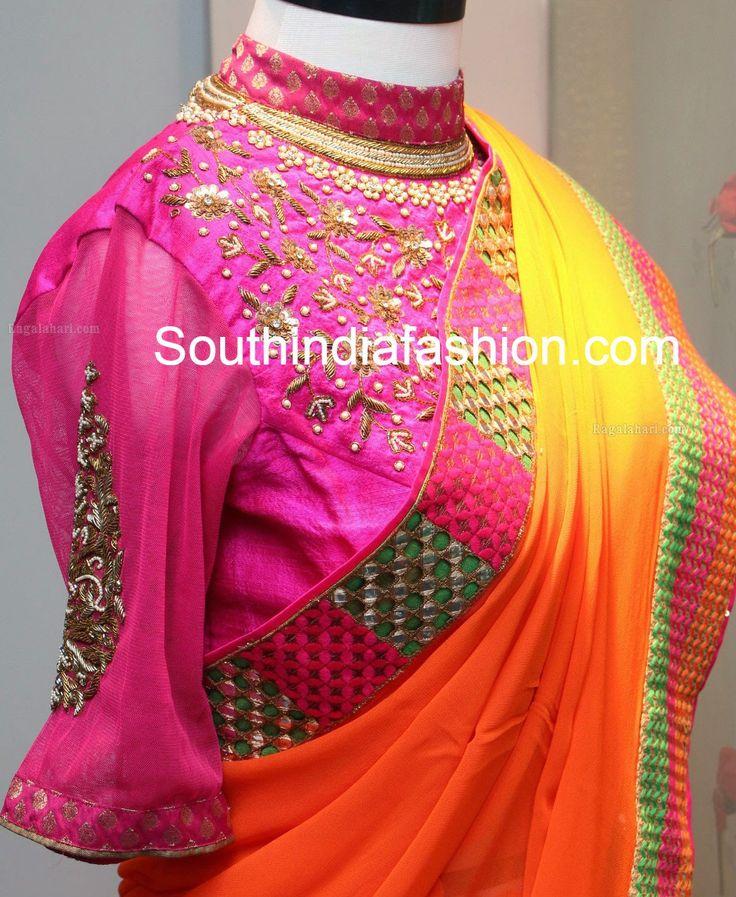 High Neck Maharani Blouse ~ Celebrity Sarees, Designer Sarees, Bridal Sarees, Latest Blouse Designs 2014
