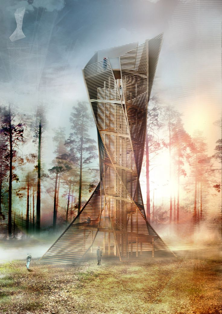 "Italian architects Anton Pramstrahler and Alex Niederkofler plan to construct a ""Lookout Tower"" in a woodland near the town of Bruneck, Italy. Comprised almost entirely of wood, the twisting structure will provide a scenic space for respite and contemplation while blending into the surrounding growth with a fanned façade that mirrors the trees' roots and canopies."