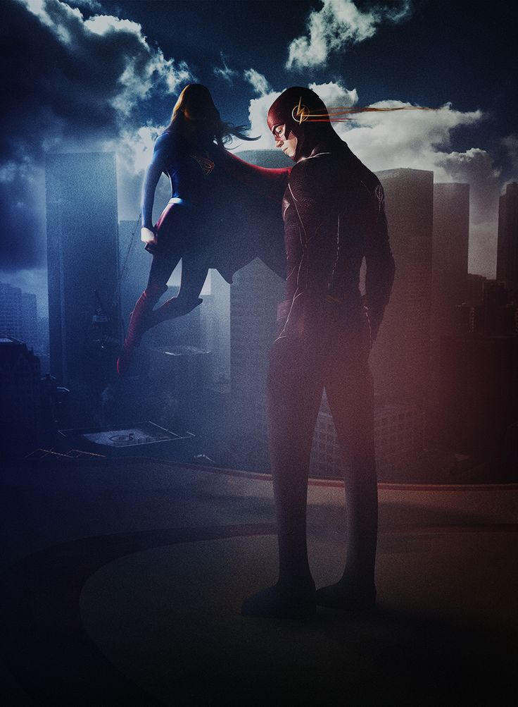 Supergirl And Flash Crossover Poster by dan-zhbanov