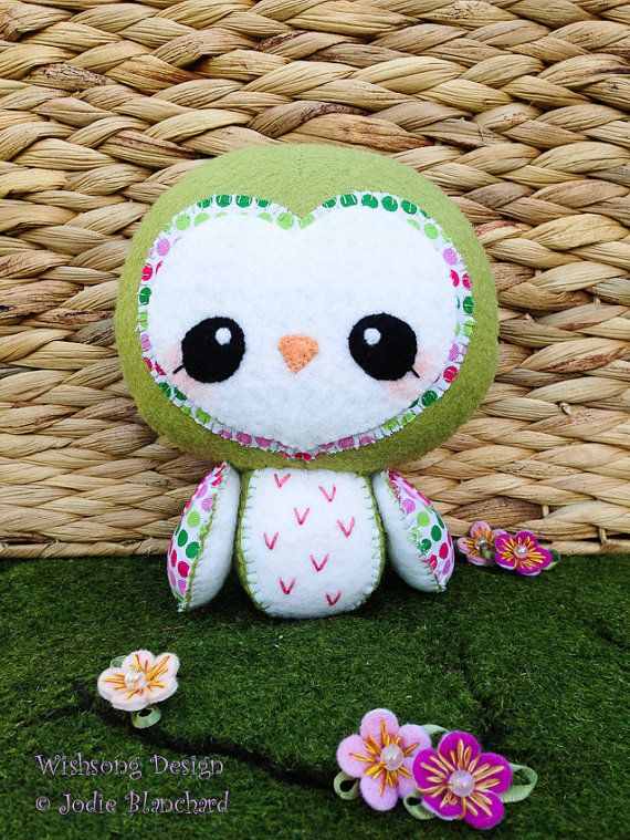 Kawaii Owl Plush Owl Felt Toy Whimsical Owl By Wishsongcreations