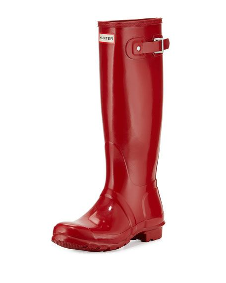 """Hunter Boot original high-gloss rubber rain boot. 1"""" flat heel; 15""""H shaft; 12.5"""" circ. Round toe. Decorative buckle strap at top. Logo patch at top center. Pull-on style. Quick-dry nylon lining. Cush"""