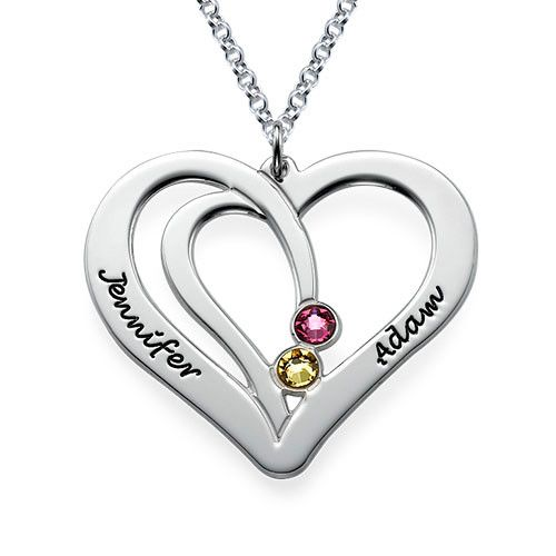 Engraved Couples Birthstone Necklace in Silver | MyNameNecklace