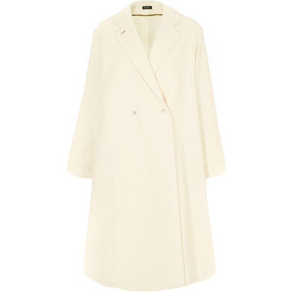 Paul Smith Black Label Ivory Double Face Coat ($695) ❤ liked on Polyvore featuring outerwear, coats, white coat, cocoon coat, paul smith, paul smith coat and white winter coat
