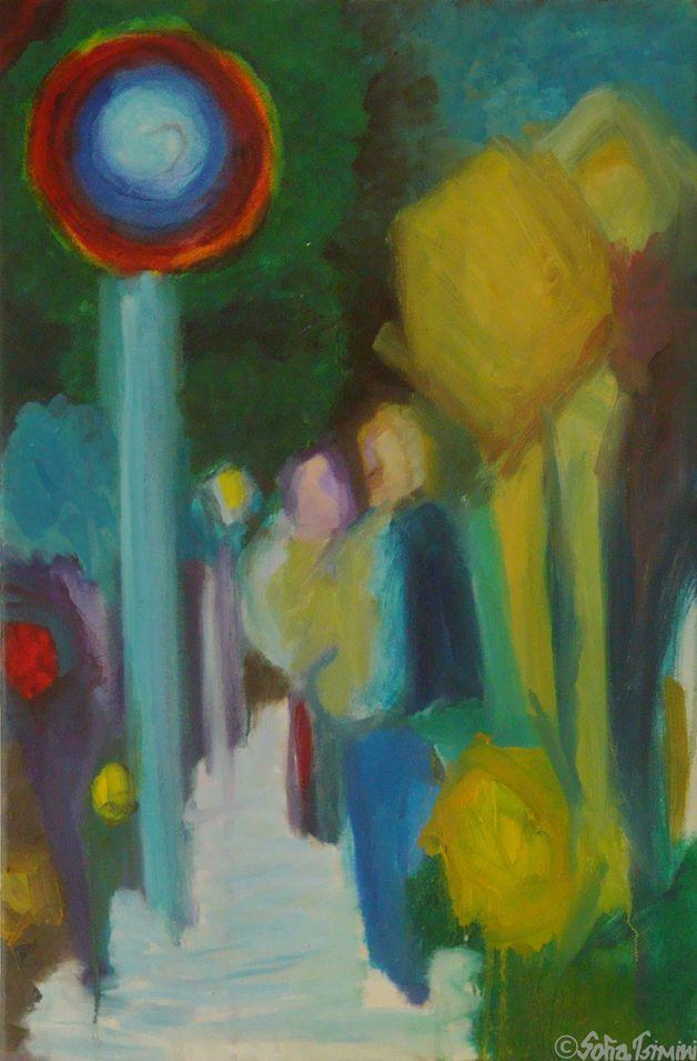"""Original Oil painting """"Hill"""" by Sofia Tsimini"""