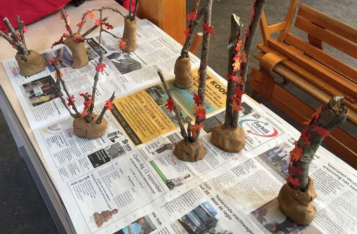 herfstbomen van klei, thema kabouters