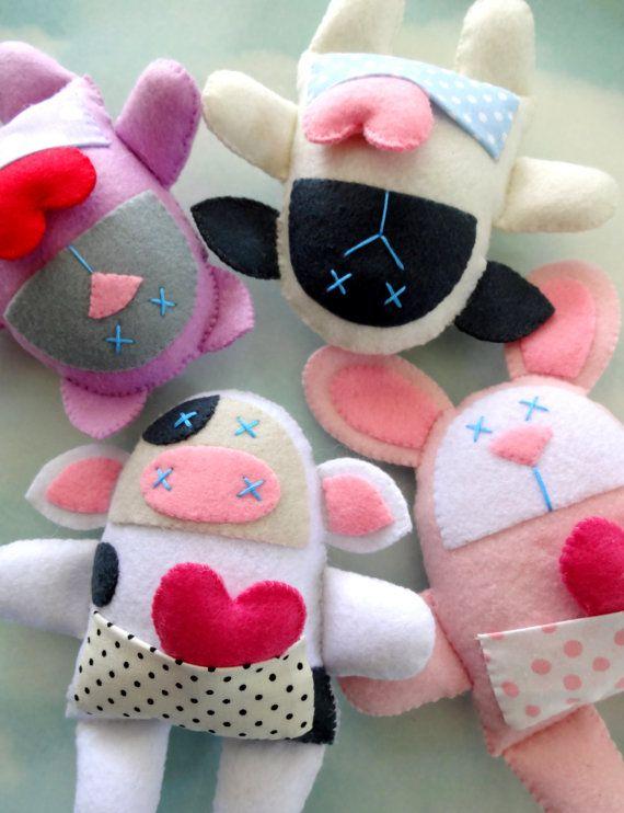 Valentine Sewing Pattern  Nine Felt Spring Animal Softies