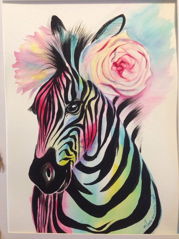 Colorful rainbow zebra with light pink rose flower by MintFairy