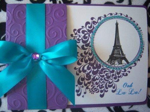 Paris Sweet Sixteen Party Ideas | Sweet 16 Quinceañera Chic Paris Eiffel Tower Bling Invitations