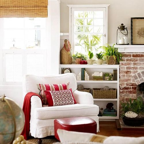 junkgarden: Comfortable furnishings: Living Rooms, Beaches House, Color, Chairs, Brick Fireplaces, Shelves, Reading Nooks, Red Accent, Beaches Cottages