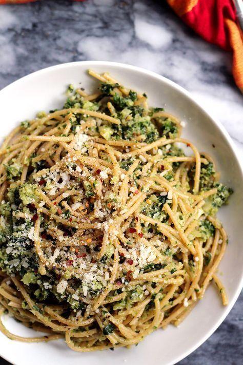 Spaghetti with Cauliflower and Garlicky Swiss Chard Gremolata