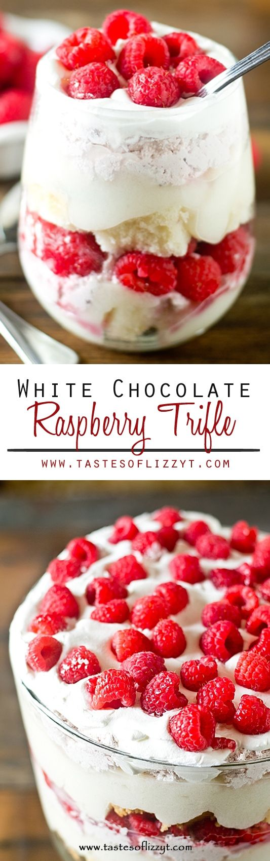 White Chocolate Raspberry Trifle  Recipe - Layers of cake, white chocolate pudding and raspberry cream.