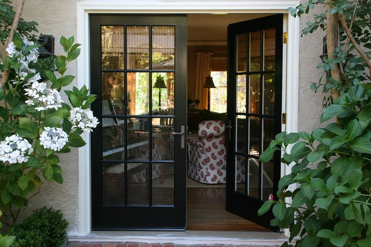 Black bookshelf and French Doors.......vignette design: July 2013