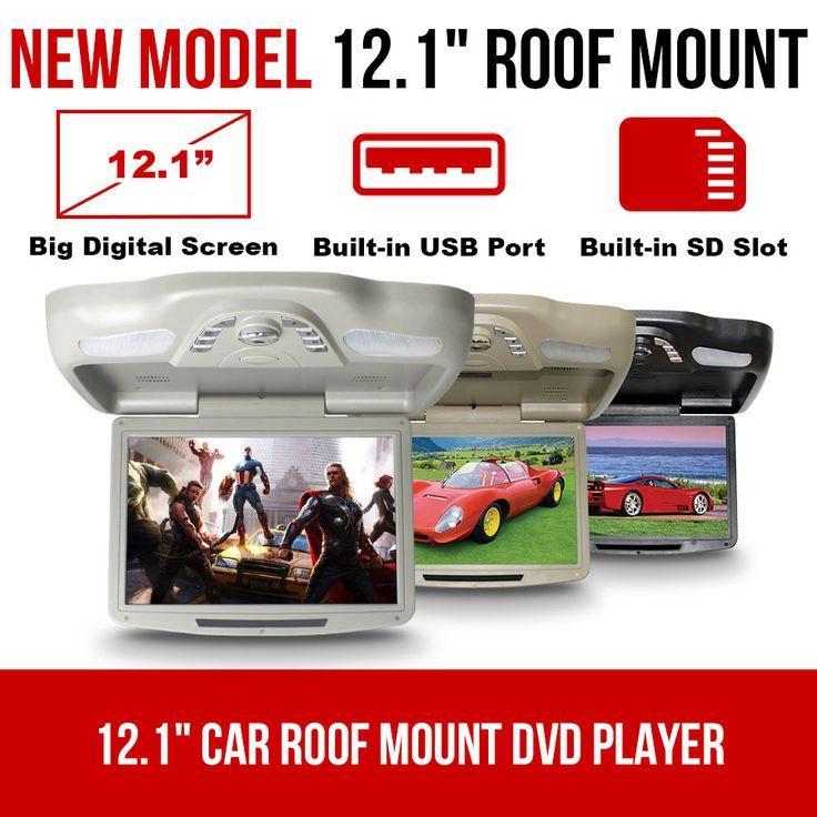 12.1 inch Car Roof Mount DVD player Flip Down Monitor 12V USB SD 32 Bits Games   Elinz