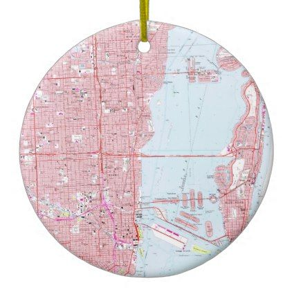 Vintage Map of Miami Florida (1962) Ceramic Ornament - diy cyo customize create your own #personalize