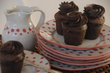 Mini mud cakes - dark chocolate mud cake with a hint of espresso, topped with thick chocolate ganache