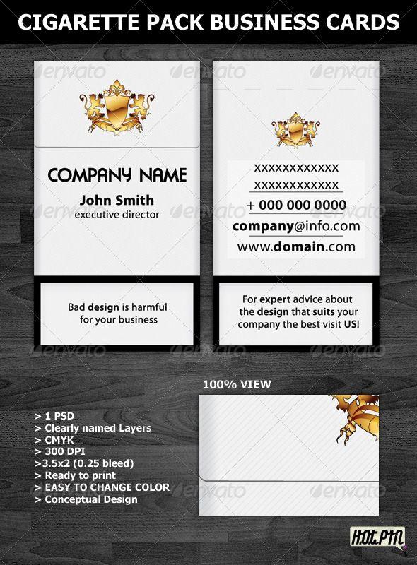 cigarette pack business card template graphicriver cigarette