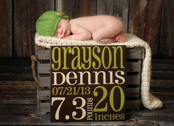 Baby Birth Announcement Subway Art baby sign