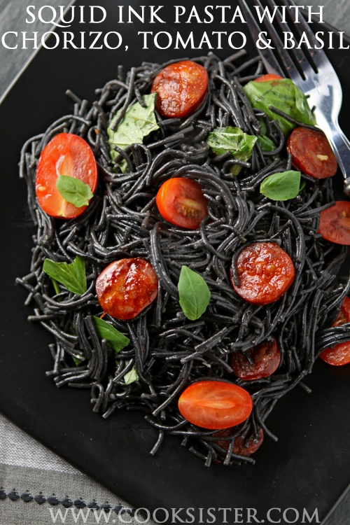 Black squid ink #pasta with chorizo, tomatoes and basil #recipe - cooksister.com