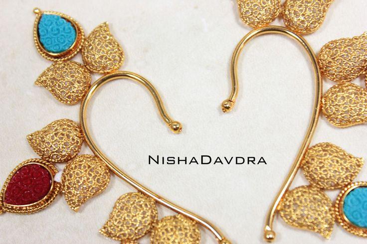 Pair Traditional Indian Bollywood Ear Cuff Ethnic Fashion Jewelry  #NishaDavdra #Cuff