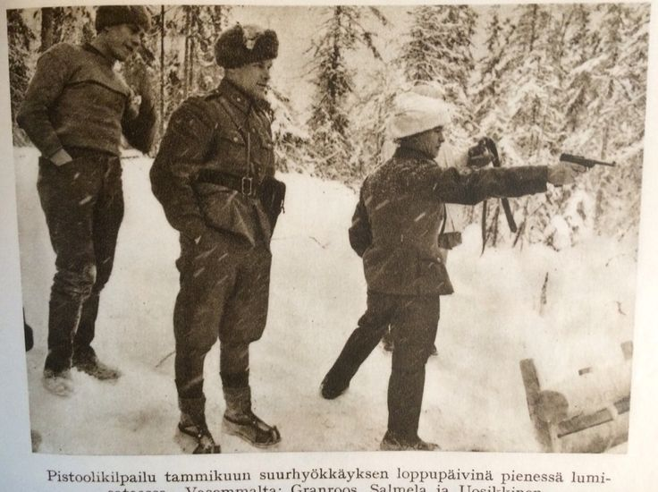 Somehow these finnish soldiers found time and will to have a pistol competition during the heavy assault of russians in January 1940 at Kollaa.