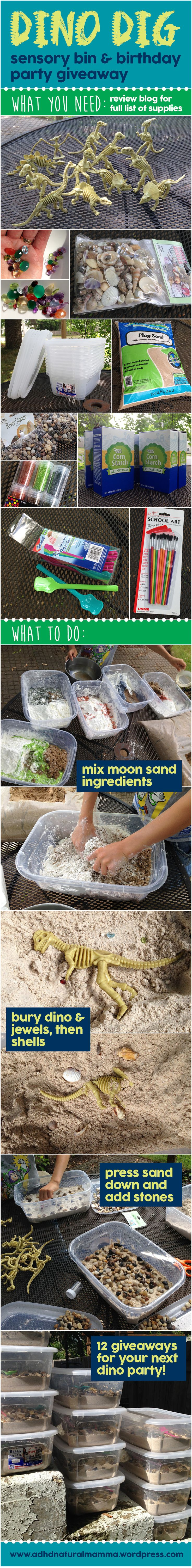 Dinosaur dig sensory bin and birthday party giveaway favor supplies and directions - paleontology excavation - moon sand recipe - dino fossils - real gemstones and seashells - sensory processing disorder - adhd - play - imagination