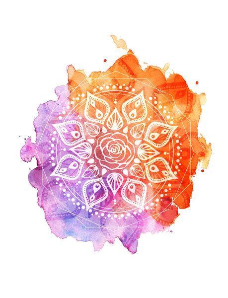 Sunset Watercolor Mandala Art Print by Aterkaderk   Society6