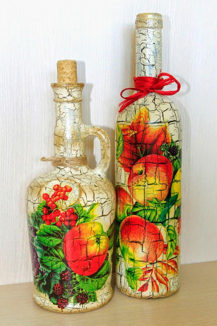 Exquisite decorative bottle design Decoupage on glass